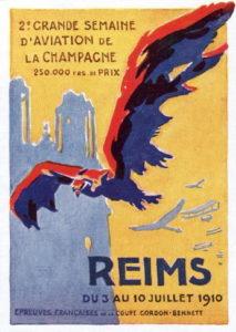 Plakat pierwszych lotniczych zawodów w Reims rozegranych w dn. 3-10 czerwca 1910 r.