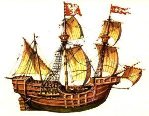 Okręt Straży Morskiej Zygmunta Augusta (1568 r.). Mal. E. Koczorowski